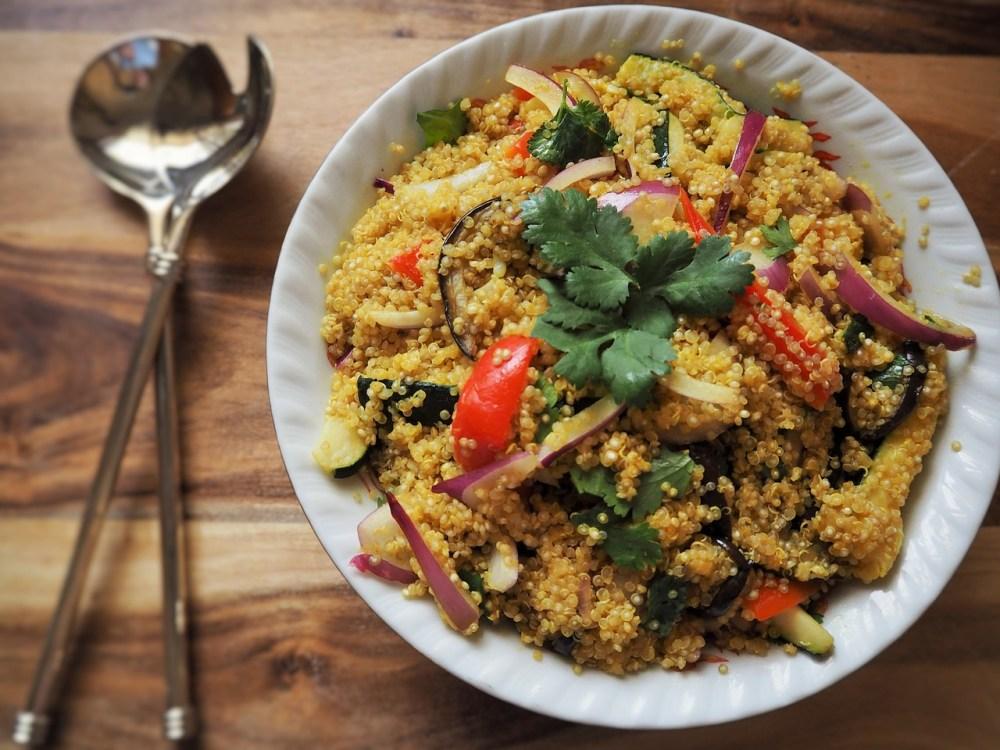 quinoa verduras pimiento cebolla