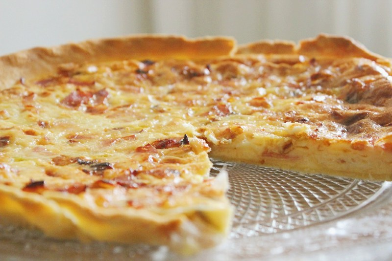 quiche puerros y bacon