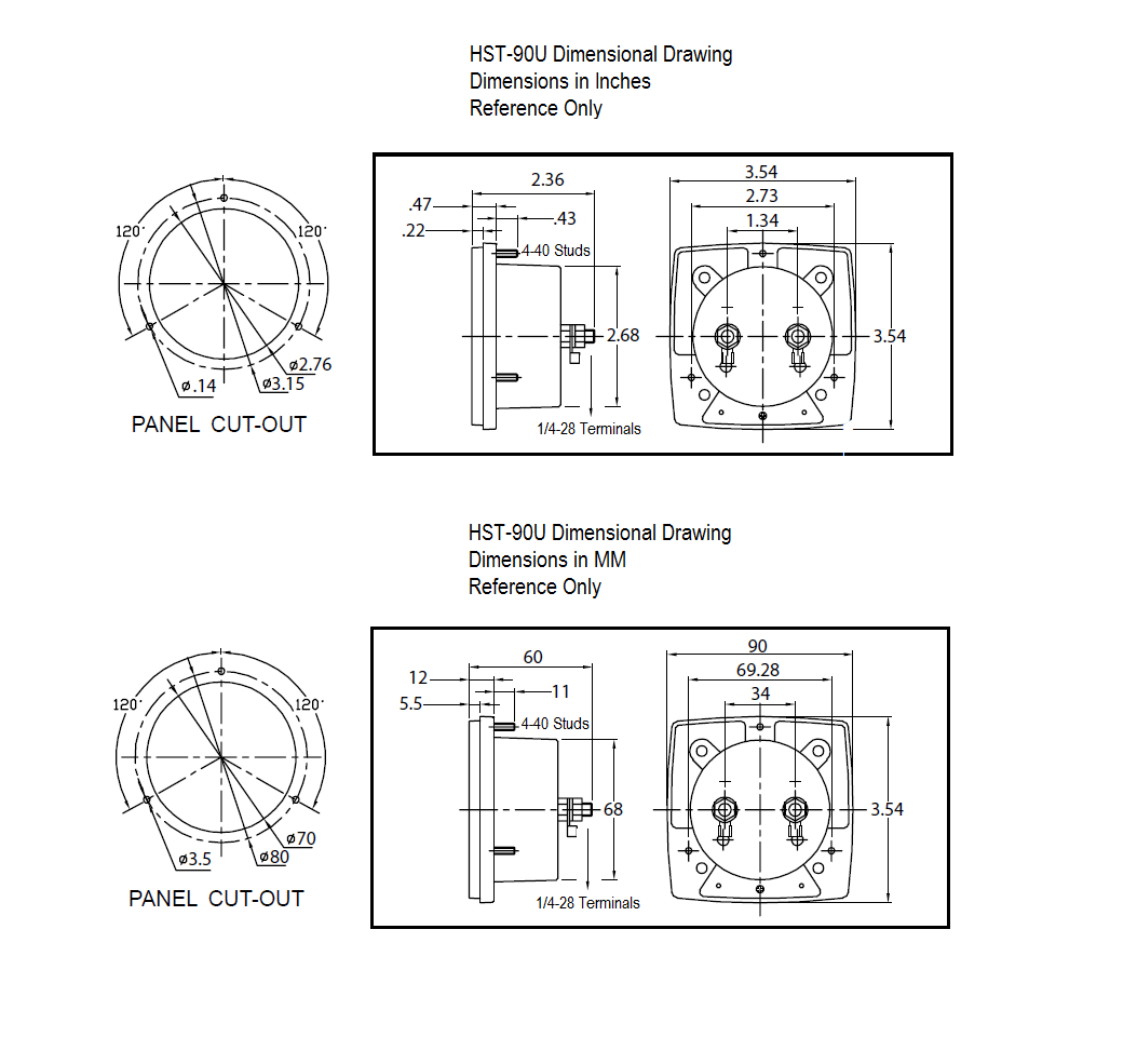 Hst 90u Ac Or Dcog Panel Meter