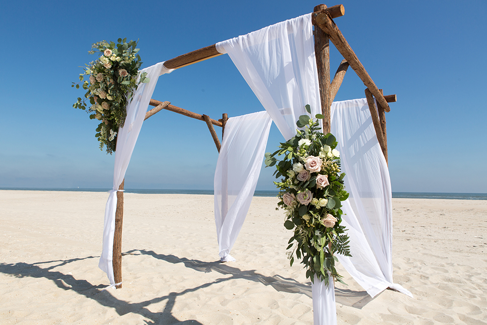 Arbor on Beach for Vow Renewal