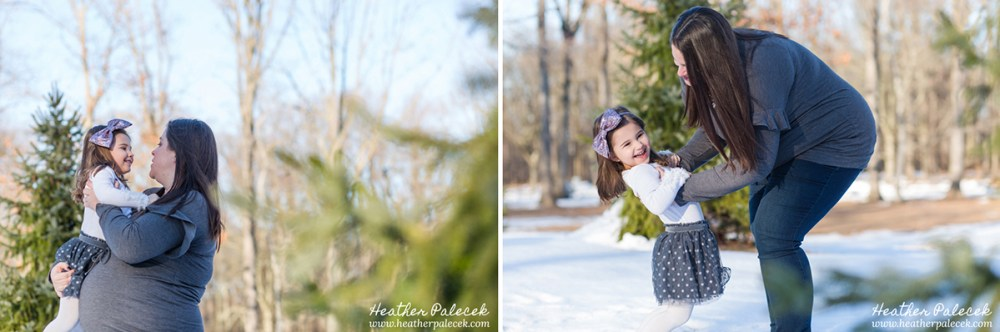 Winter Family Photos with Evergreens