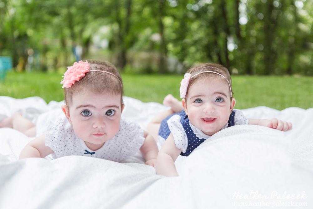 Twin girls in back yard