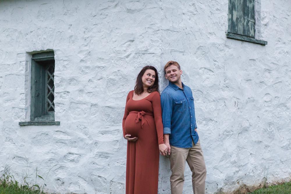 maternity portrait on corner of building