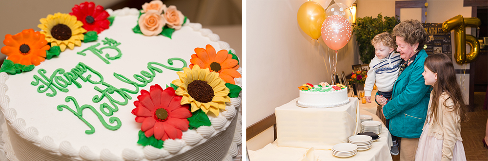 75th birthday cake with sunflowers
