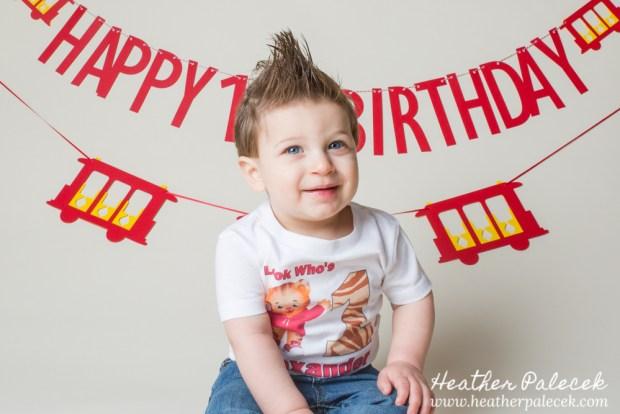 1st birthday portrait with daniel tiger theme