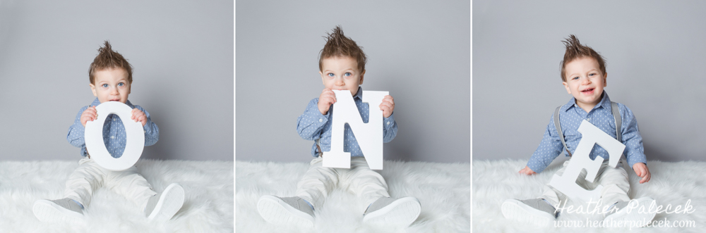 first birthday portrait using O N E letters