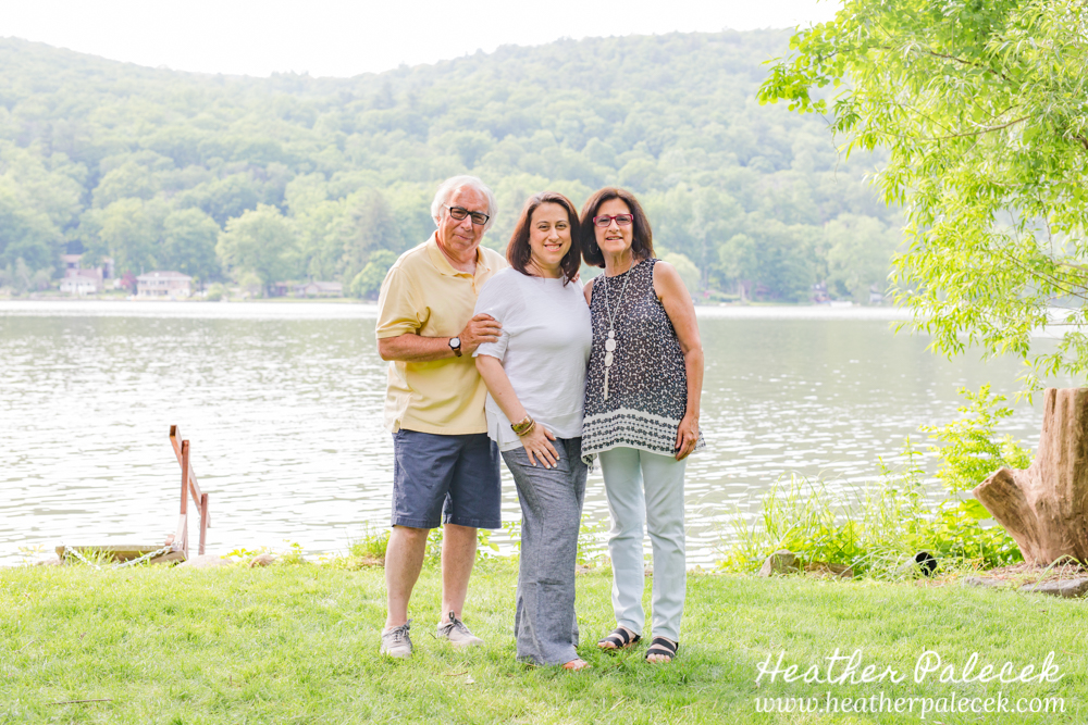 family portrait at lake house in nj