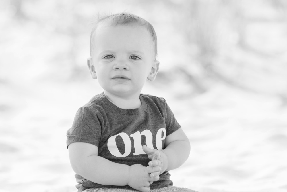 one year old portrait session at the nj beach