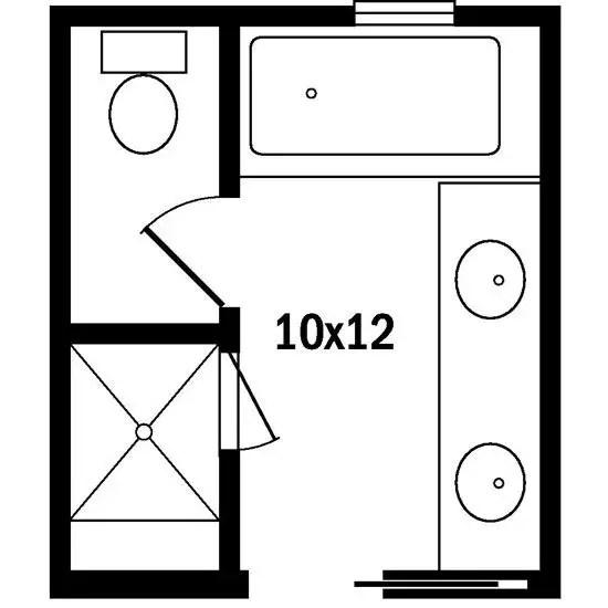 Sơ đồ tầng tắm chính 10x12