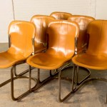 Mid Century Leather Brass Dining Chairs By Willy Rizzo For Cidue Set Of 6 Hpvintage Com