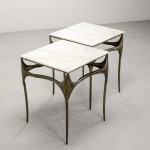 Mid Century Pair Of Italian Brutalist Bronzed Side Tables With Marble Top After Paul Evans 1960s Hpvintage Com