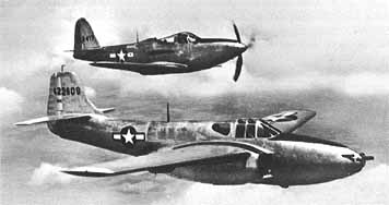 aerial view of a P-59 and a P-36