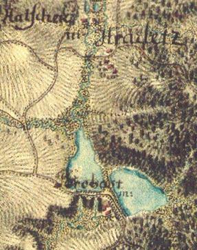 Dva propastské rybníky na mapě I. vojenského mapování