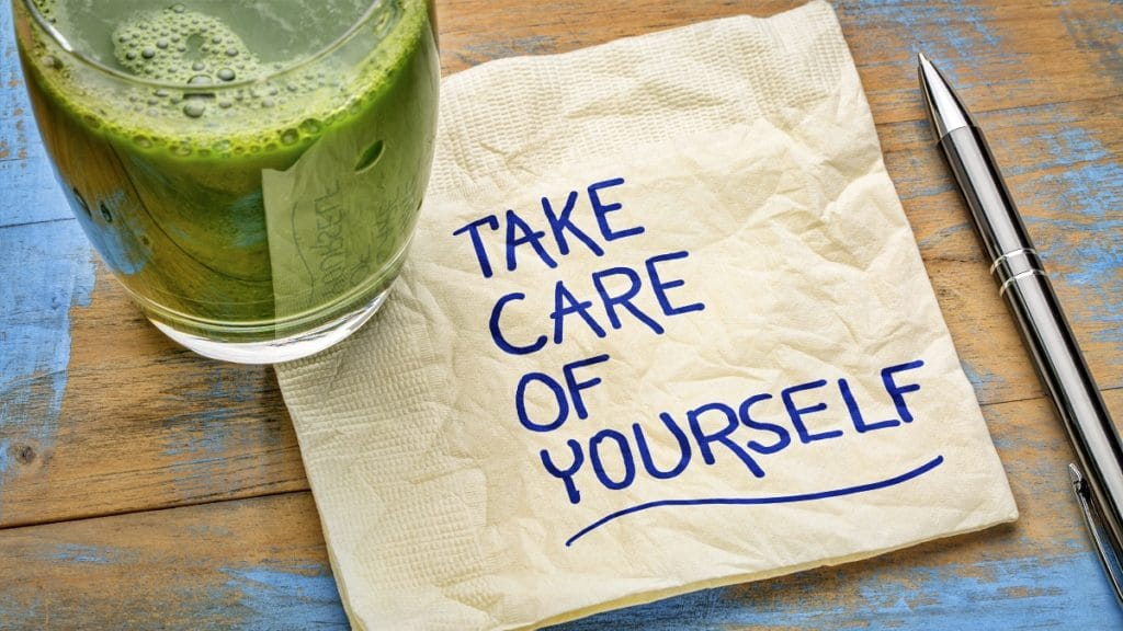 bar napkin with take care of yourself showing the importance of employee wellbeing