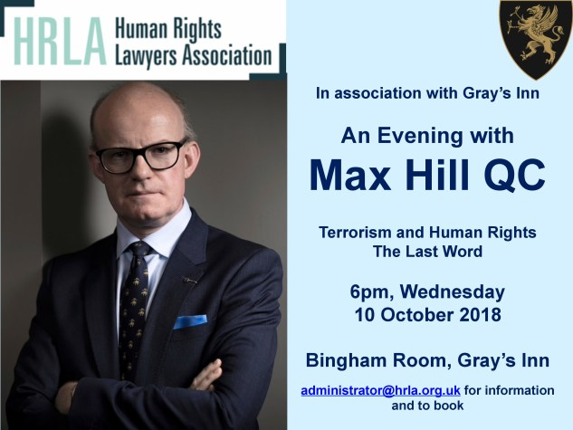Terrorism and Human Rights: An Evening with Max Hill QC @ The Bingham Room