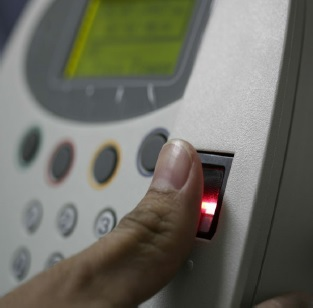 Biometric finger clocking device