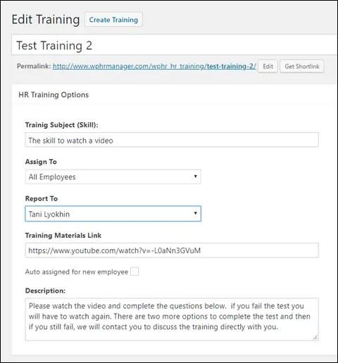 WP-HR Training Module Settings
