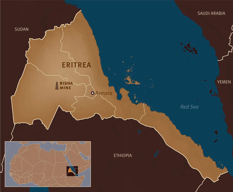 <p>Map of Eritrea with location of Bisha Mine.</p>
