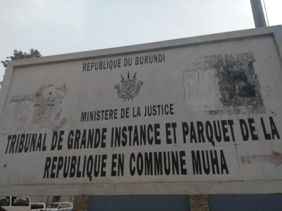 Sign outside the Muha High Court in Bujumbura, Burundi.