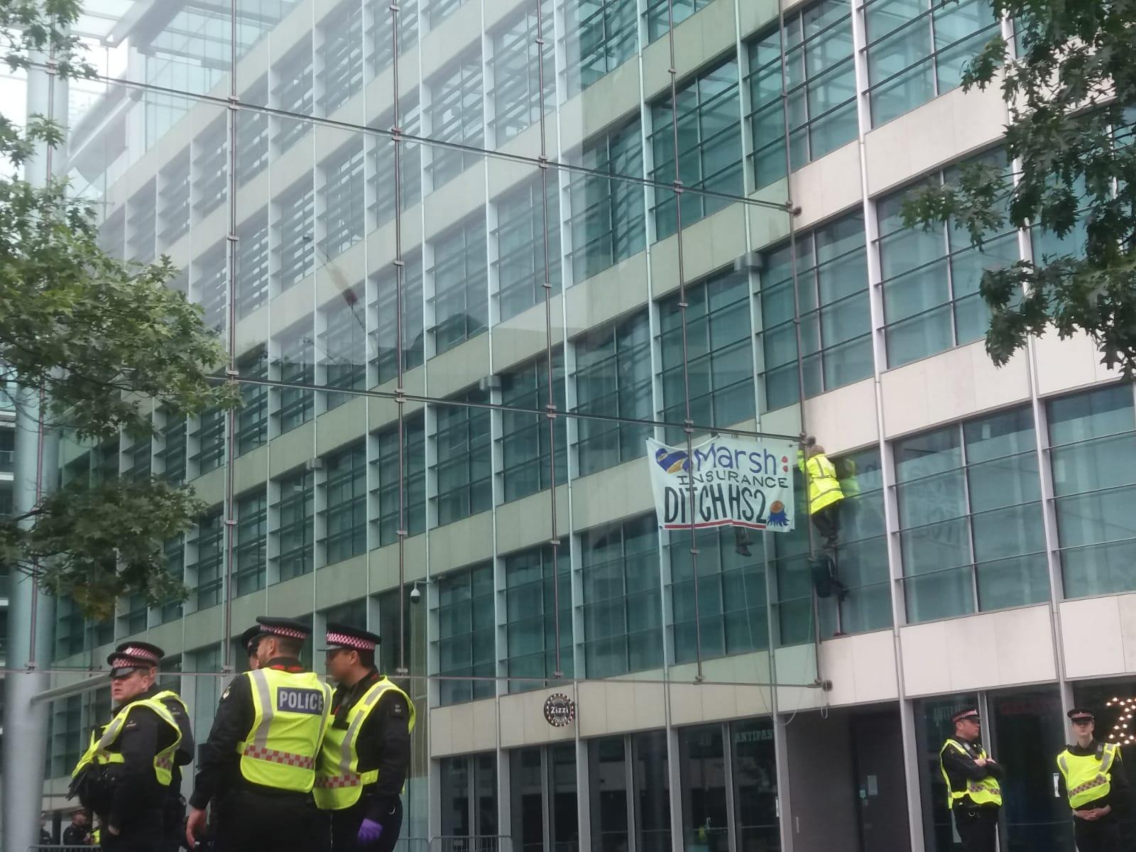 HS2 Rebellion Activists Climb Insurer's Building