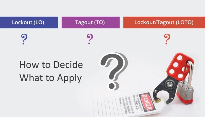 Lockout (LO), Tagout (TO) or LockoutTagout (LOTO) How to Decide