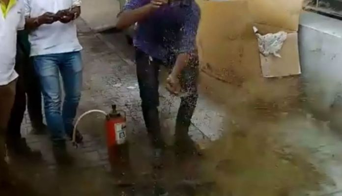 Fire Extinguisher Explosion While Training