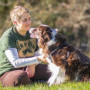 Angela Schmorrow, dog trainer with a dog