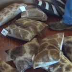 Giraffe hide pillows