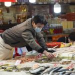 Masked man in Hong Kong market
