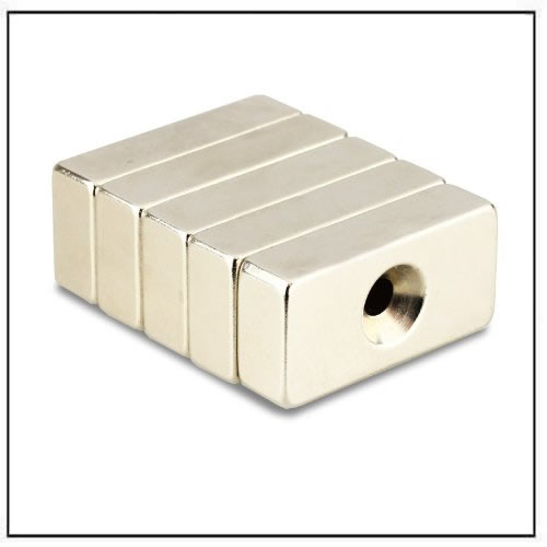 block neodymium countersunk magnets with single hole