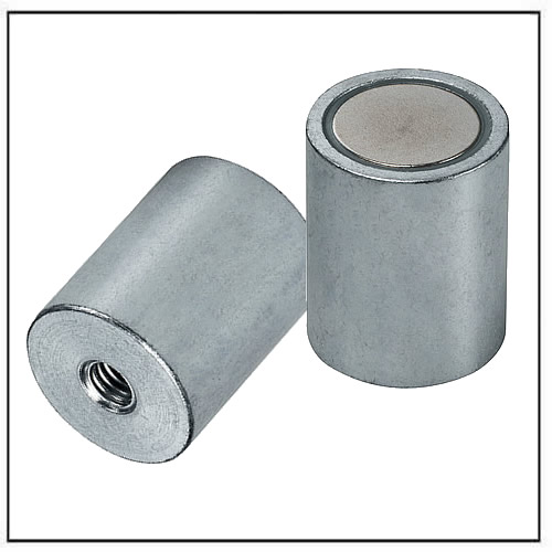 NdFeB Deep Pot Magnets steel body with fitting tolerance h6 and internal thread