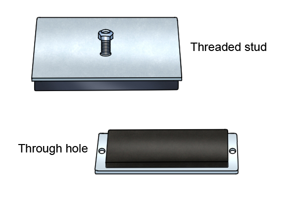 Types of magnetic mounting pad - Threaded stud and through hole magnetic mounting pads