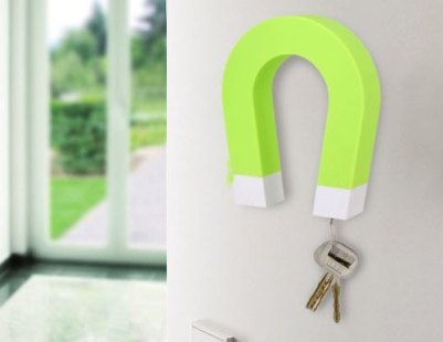 Green-Wall-mountable Magnetic Key Holder with Magnetic Tips