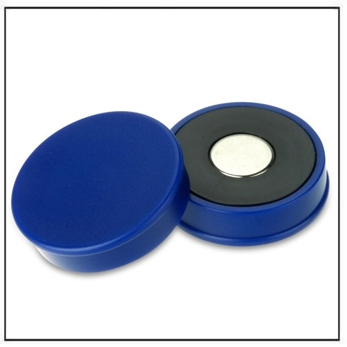 Blue Strong Neodymium Round Magnet in Plastic Housing