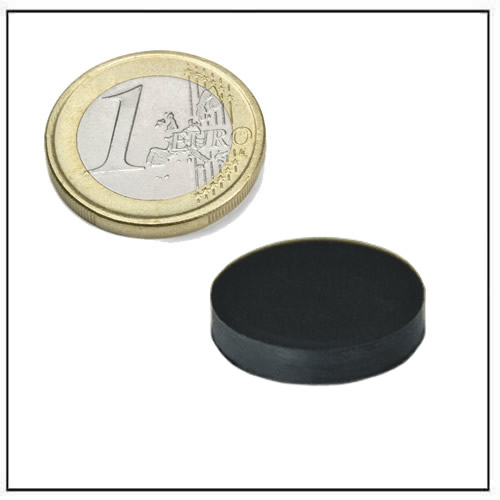Ø 20 x 4 mm Black Rubber Coated Round Neodymium Magnet