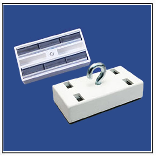 Ceiling Magnets Rectangular with Open Hook, White Plastic