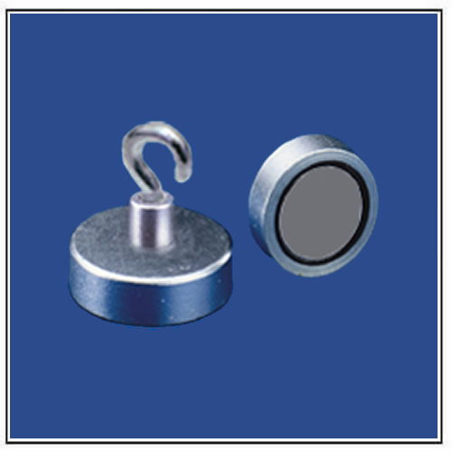 Flat Pot Magnets Round with Hook, Metal Body, Galvanized