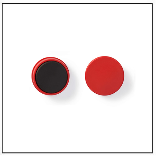 Plastic Capped Magnets In Ferrite Round Red Magnets By