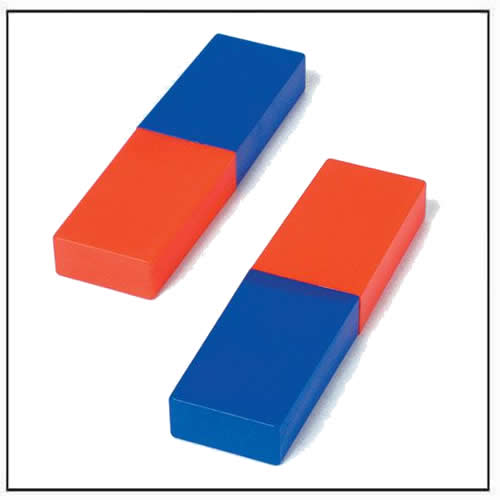 Red and Blue Cylindrical Bar Magnets with Plastic Coating