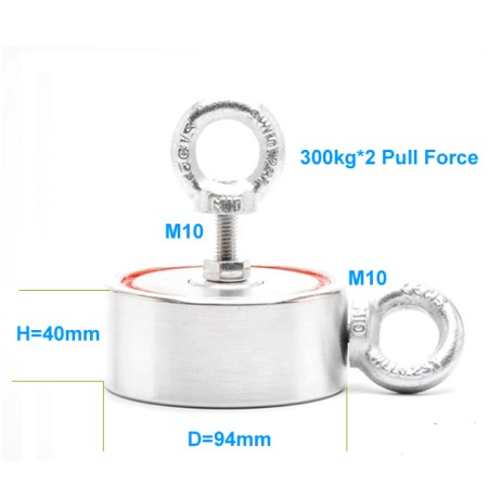 Two-sides Powerful Treasure Salvage Magnet 300kg Pull Force size drawing