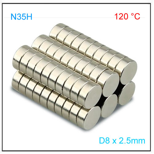 D8x2.5mm Axial Disc Magnets N35H for Linear Position Sensor