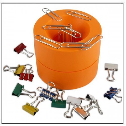Orange Magnetic Paper Clip Holder Dispenser