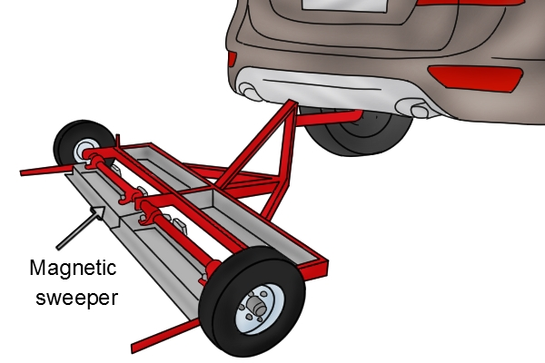 forklift truck trailer magnetic sweeper
