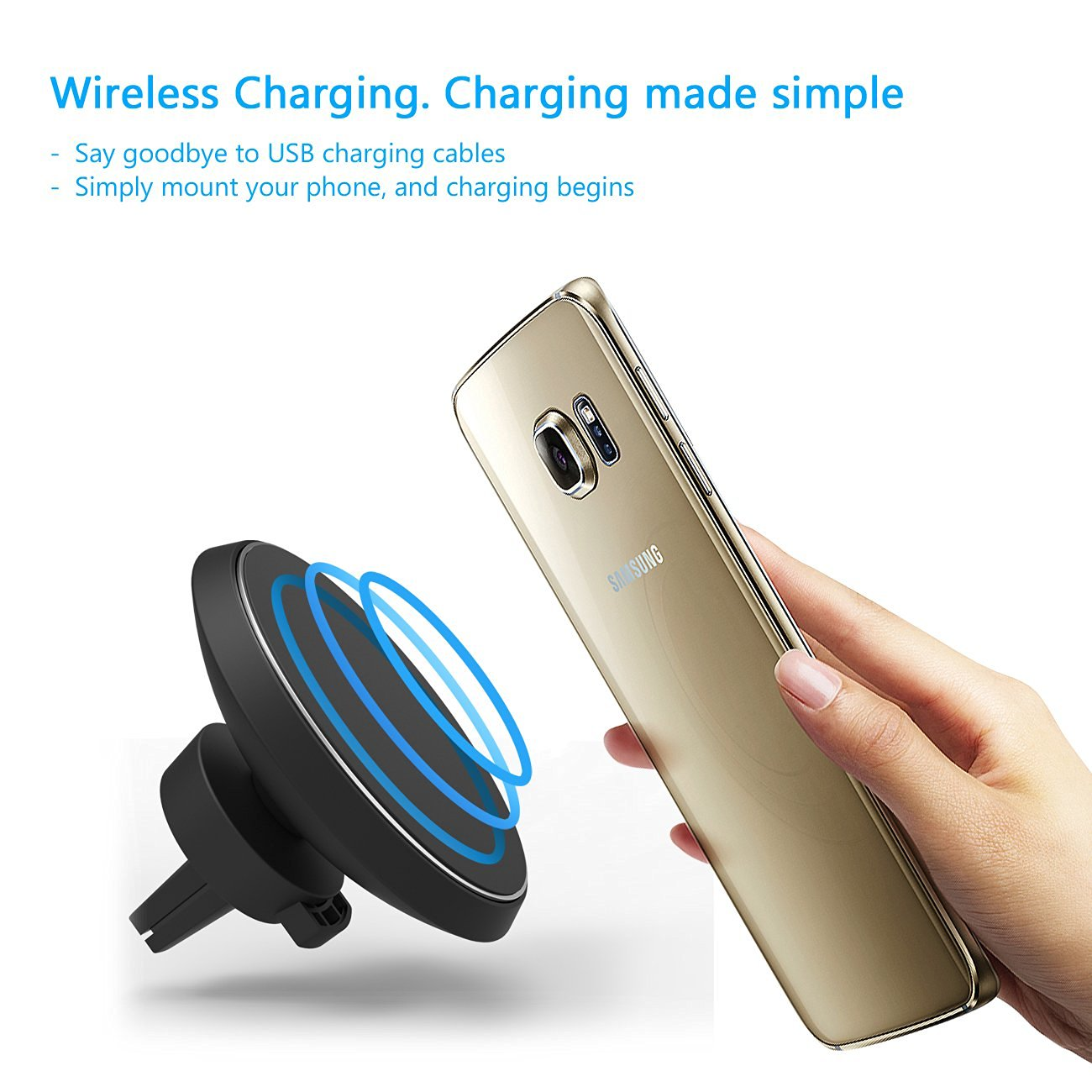 360 degree wireless charger magnetic car phone holder. Black Bedroom Furniture Sets. Home Design Ideas