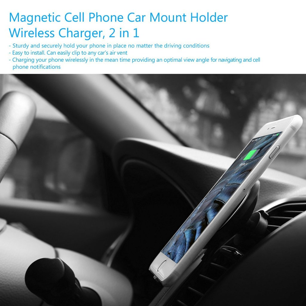 Car Qi Wireless Charger Magnetic Holder