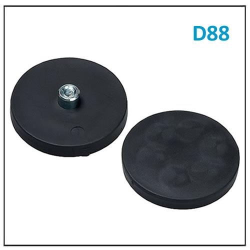 Neodymium Pot Magnet Rubber Base D88 M8