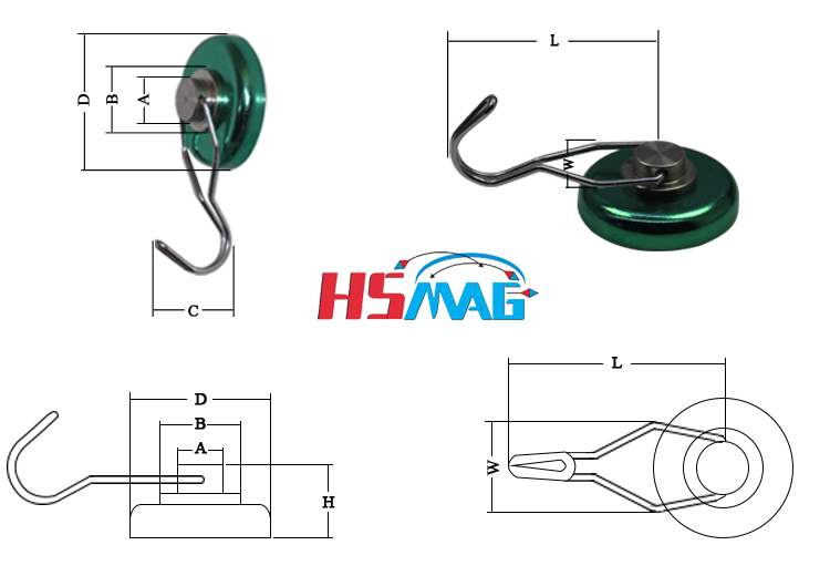 Rotating Decorative Hook Magnet Dimension