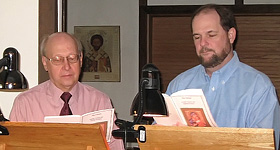 Greg Bochnak and Jeff Constant read the hours before the Divine Liturgy.