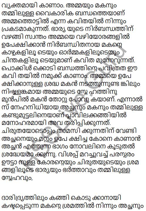 Adisthana Padavali Malayalam Standard 10 Solutions Unit 1 Chapter 3 Ammathottil 17