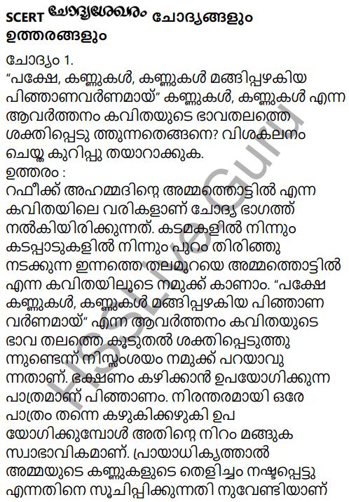 Adisthana Padavali Malayalam Standard 10 Solutions Unit 1 Chapter 3 Ammathottil 21